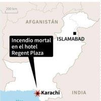 Localización de Karachi, en Pakistán, donde varias personas murieron en el incendio de un gran hotel Foto:AFP /afp.com