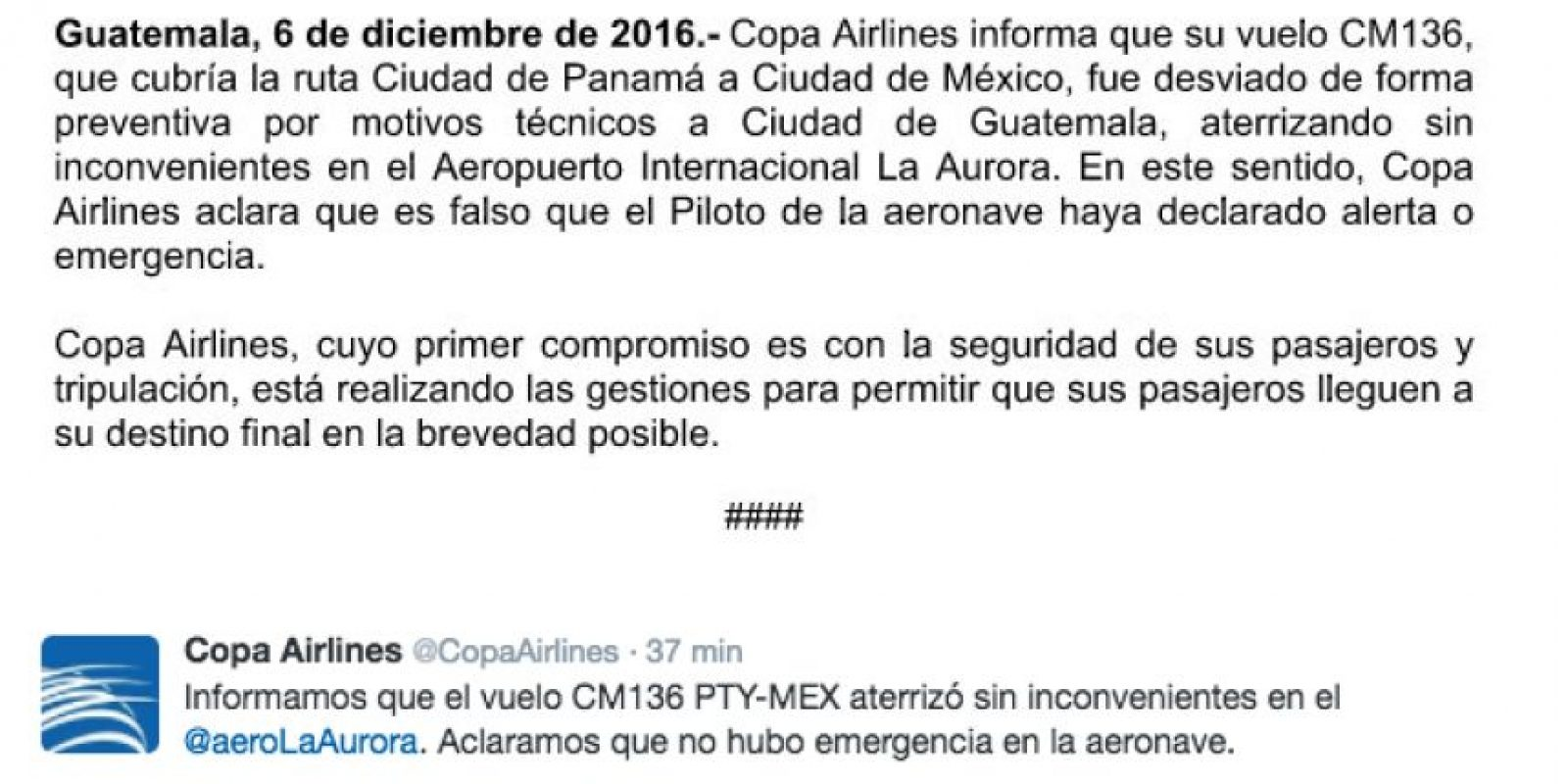 Foto:Twitter Copa Airlines