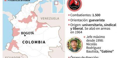 Ficha y mapa de las regiones controladas por la guerrilla del ELN Foto:afp.com