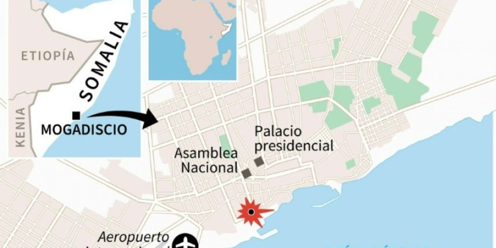 Mapa de localización de Mogadiscio, donde al menos 20 personas murieron el domingo en un atentado suicida con un camión bomba Foto:Jonathan JACOBSEN/afp.com
