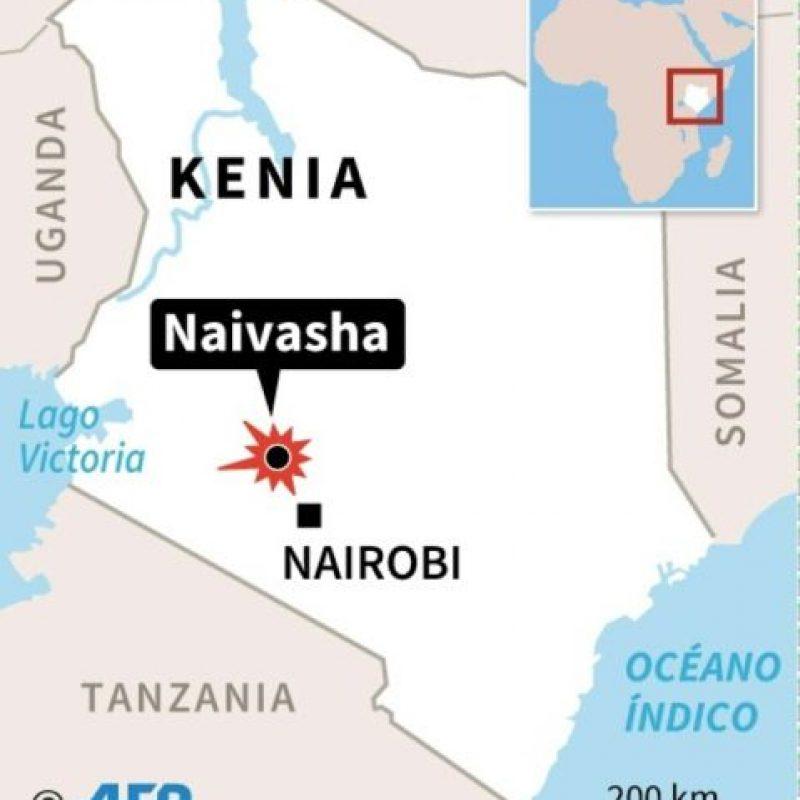 Mapa de Kenia localizando el lugar donde un camión cisterna lleno de combustible se estrelló accidentalmente contra otros vehículos el sábado en una ruta cerca de la ciudad de Naivasha Foto:AFP/afp.com