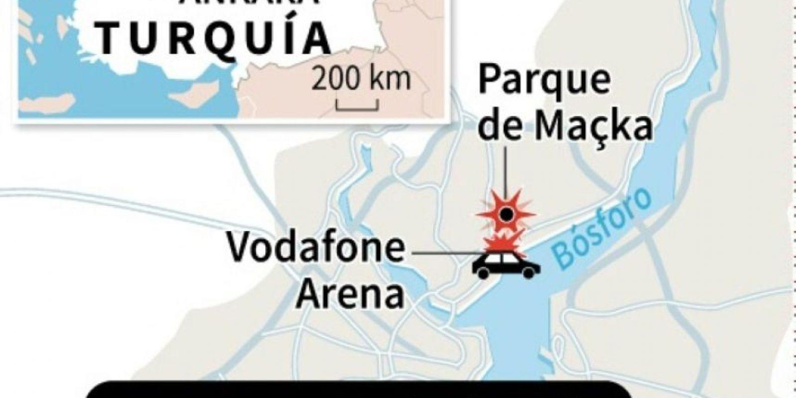 Mapa de Estambul localizando el doble atentado que este sábado causó 38 muertes cerca del estadio del Besiktas Foto:Jean Michel CORNU, Vincent LEFAI, Jonathan JACOBSEN/afp.com