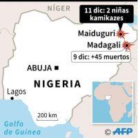 Mapa de localización de los atentadoss suicidas, viernes y domingo, en el noreste de Nigeria Foto:Jean Michel CORNU, Vincent LEFAI, Jonathan JACOBSEN/afp.com