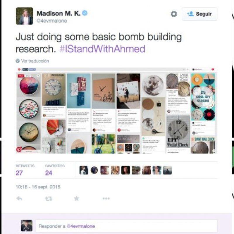"""""""Haciendo una búsqueda básica de como construir una bomba"""", escribió Madison M.K. Foto:Twitter.com"""