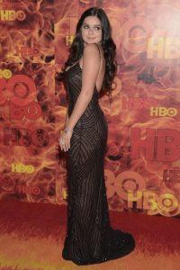 """Para el """"afterparty"""" de HBO, la estrella se enfundó en un vestido negro. Foto:Getty Images"""
