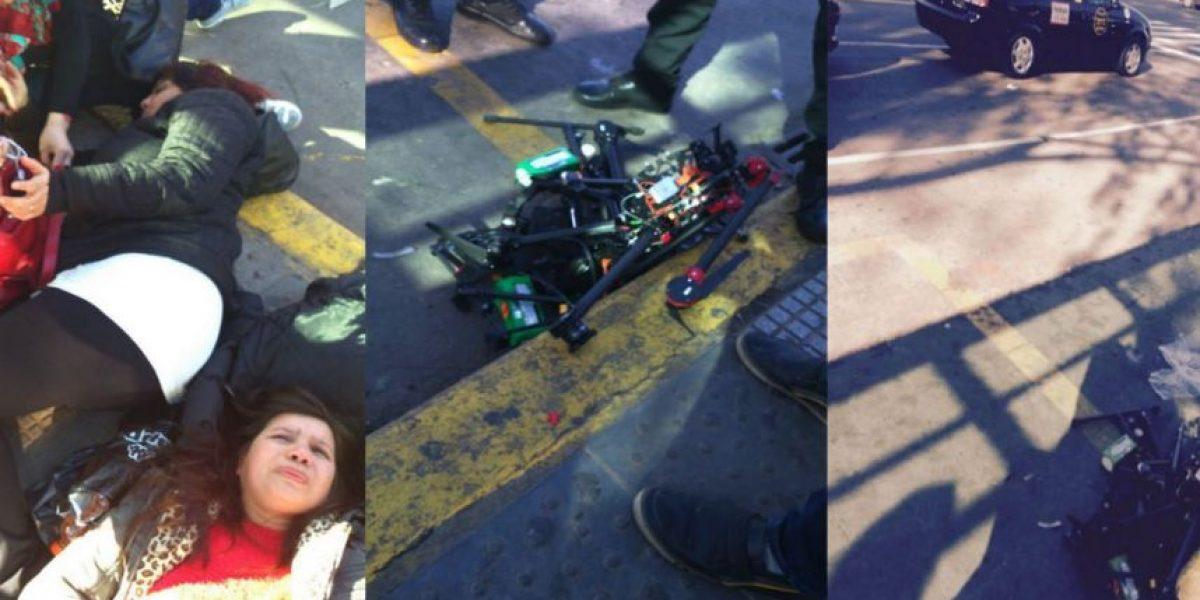 Dos mujeres caminaban por la calle y les cayó un dron en la cabeza