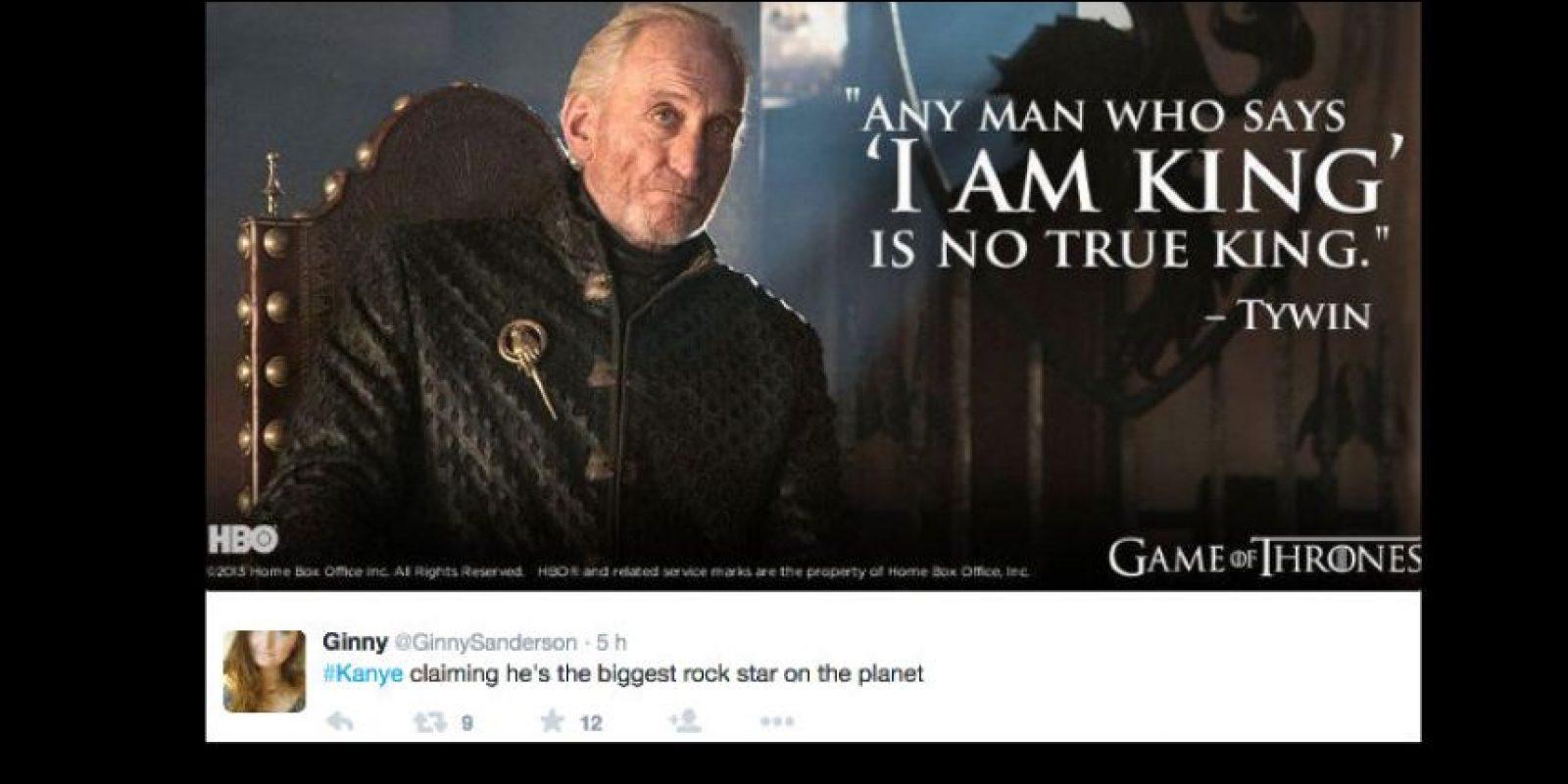 """Y alguien más citó a """"Game of Thrones"""": """"Si un hombre dice que es rey, no es el verdadero rey"""", afirma uno de sus personajes, Tywinn Lannister. Foto:vía Twittter"""