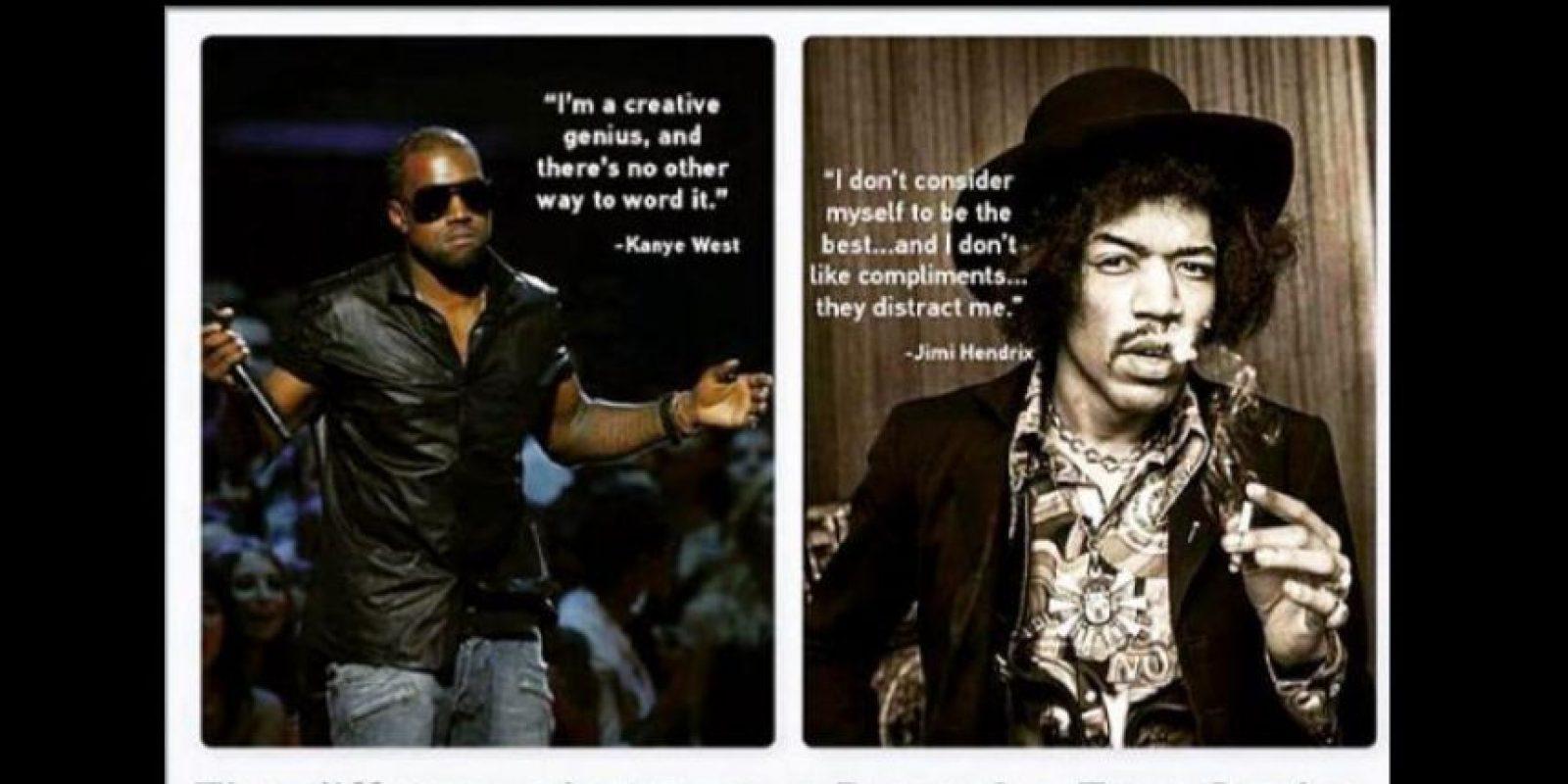 """Otro tuitero lo comparó con Jimmi Hendrixx, que odiaba los halagos, porque le cortaban la inspiración. """"La diferencia entre un genio y un poser."""" Foto:vía Twittter"""