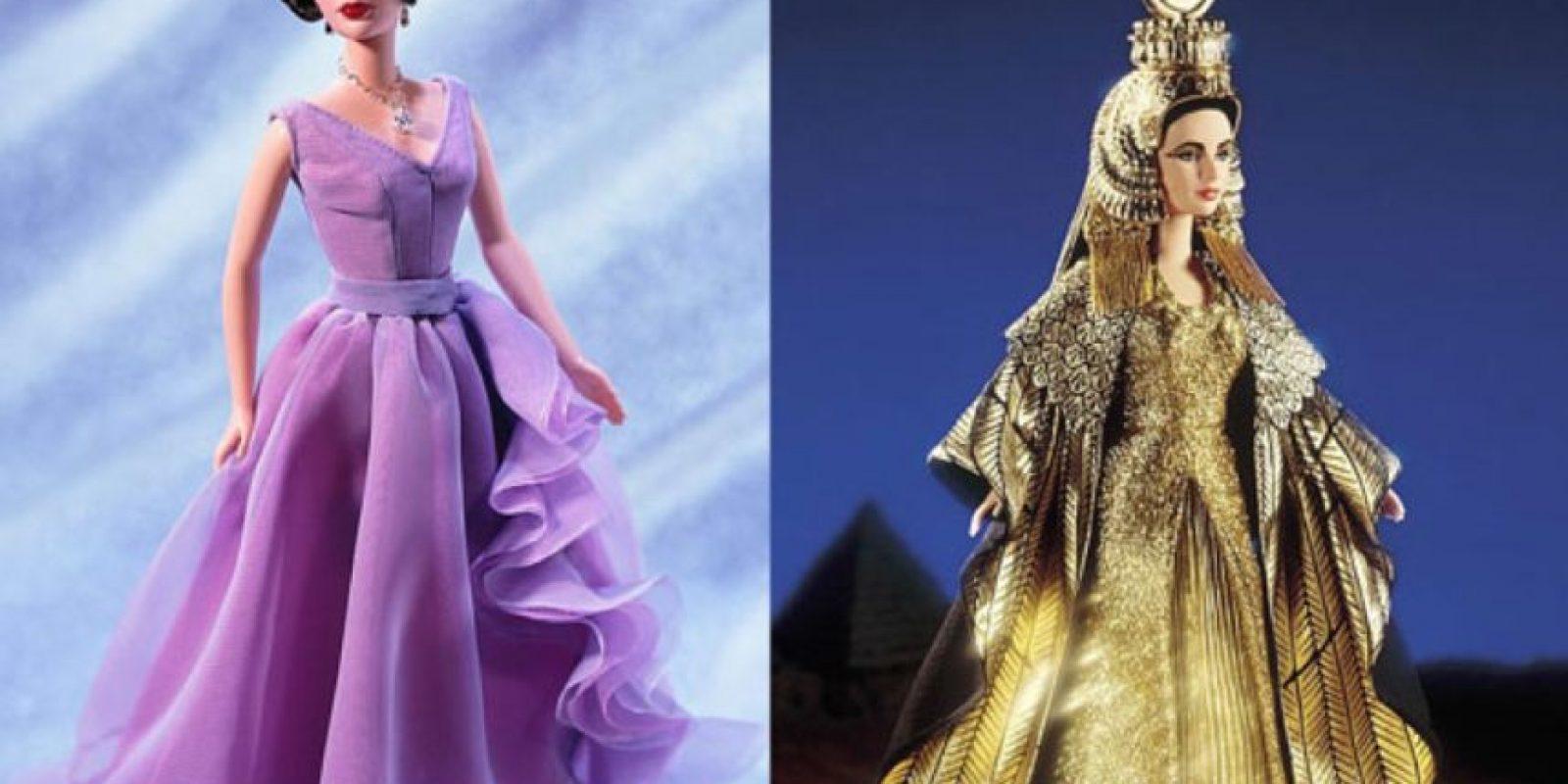 """Elizabeth Taylor en los años 50 y en """"Cleopatra"""". Foto:vía Mattel"""