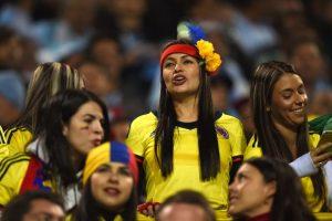 Colombia se enfrentó a Argentina, pero las hinchas cafetaleras fueron las más entusiastas. Foto:AFP