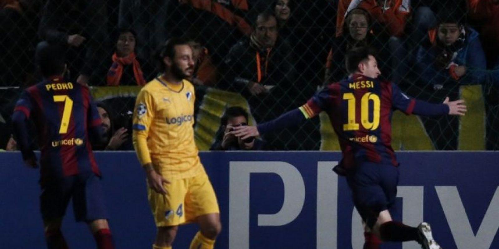 25 de noviembre de 2014. En Chipre, ante APOEL, el Barçano solo consolidó el pase a la siguiente ronda, sino que catapultó a Messi como el máximo anotador de la historia de la competición al superar a Raúl con 74 goles. Foto:AFP