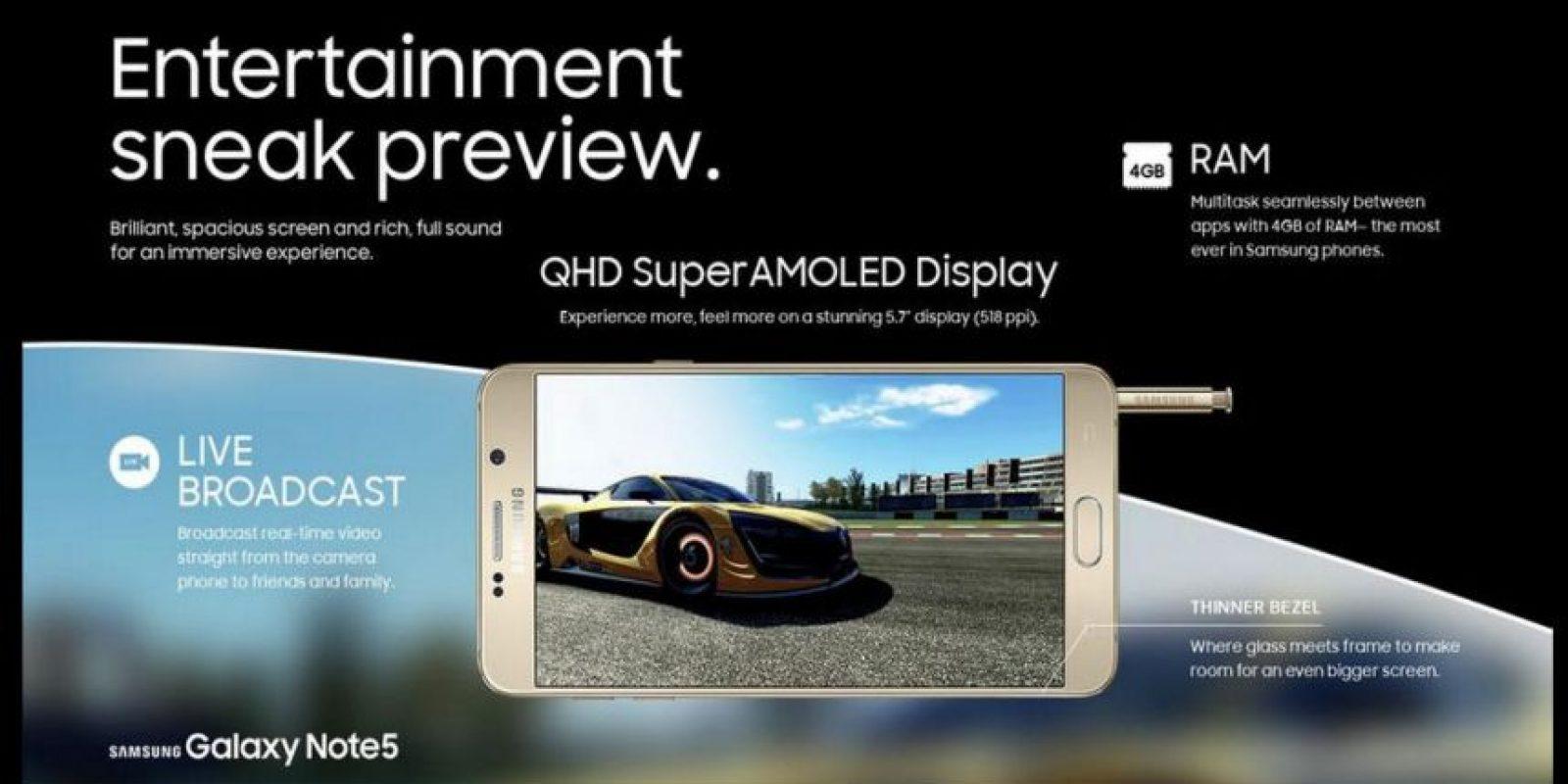 4GB de RAM y acoplamiento de videos con el borde curvo Foto:Samsung