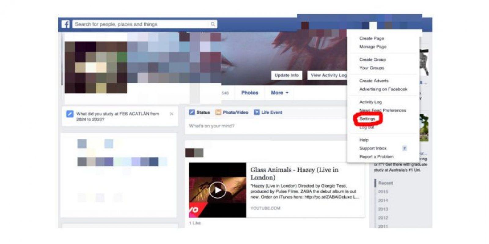 Seleccionen el menú de configuraciones Foto:Facebook