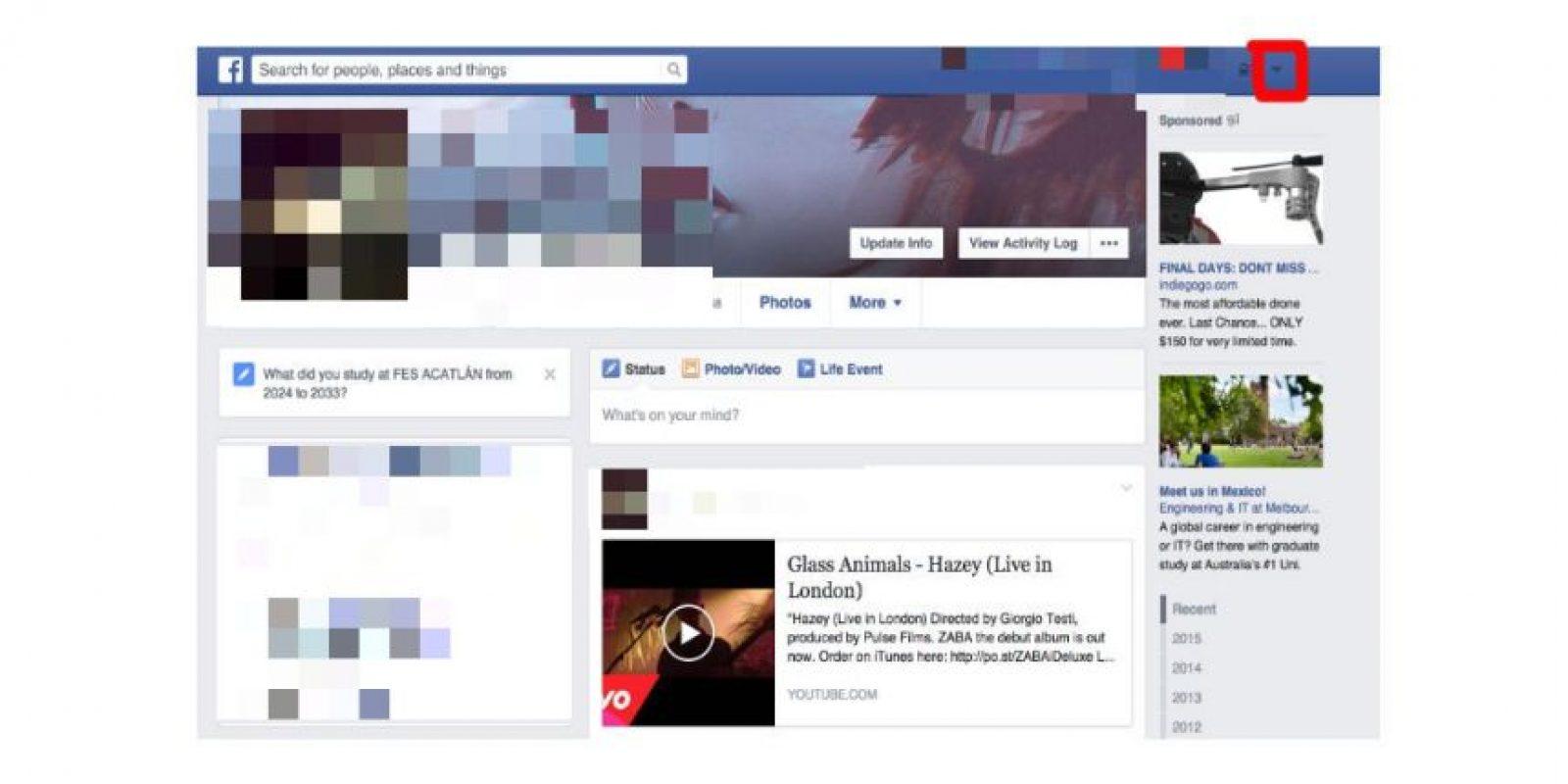 Ubiquen la pequeña flecha que se encuentra del lado derecho de las notificaciones justo en la esquina superior derecha Foto:Facebook