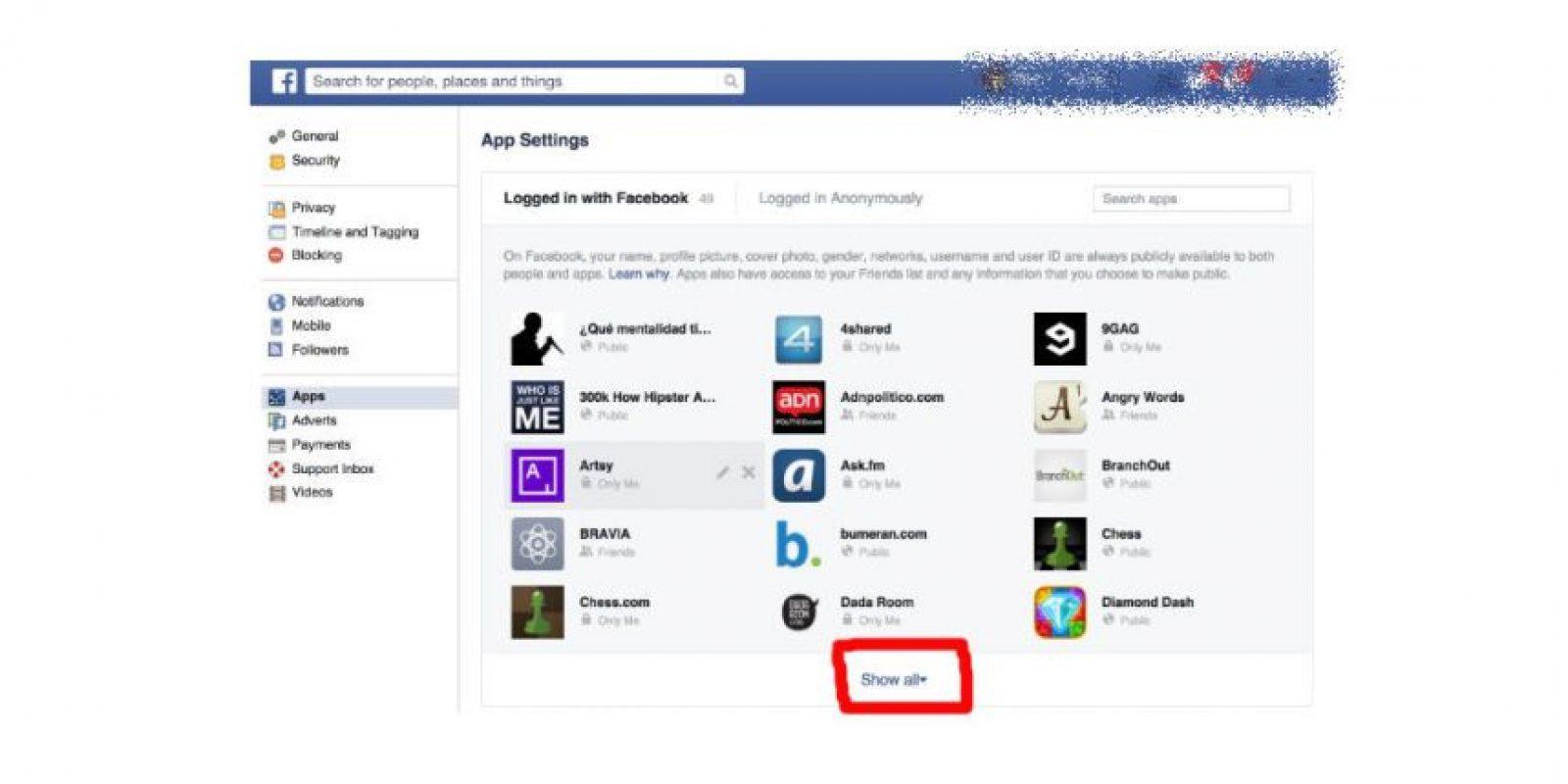 En esta sección pueden ver todas las aplicaciones vinculadas con su perfil de Facebook Foto:Facebook