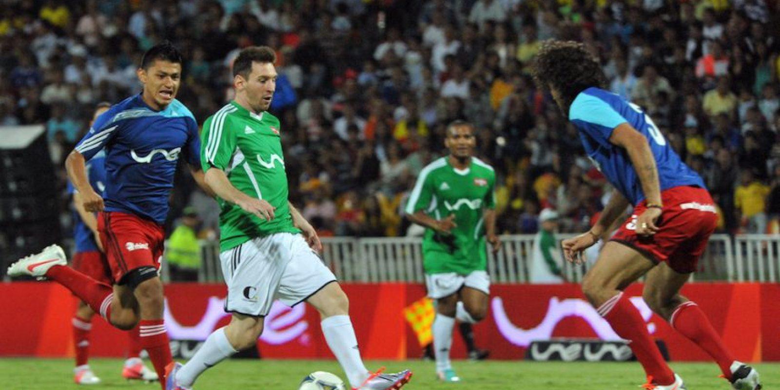 Messi ante un combinado resto del mundo. Foto:Getty Images
