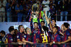 La pareja de Shakira celebró con todo la obtención de la Champions League Foto:Getty Images