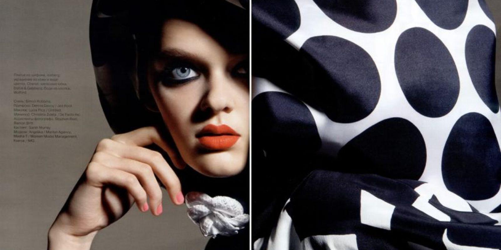 Masha Tyelna: tiene 21 años, es ucraniana y tiene unos grandes ojos azules que la han hecho objeto de editoriales en la revista Vogue. Foto:vía Vogue