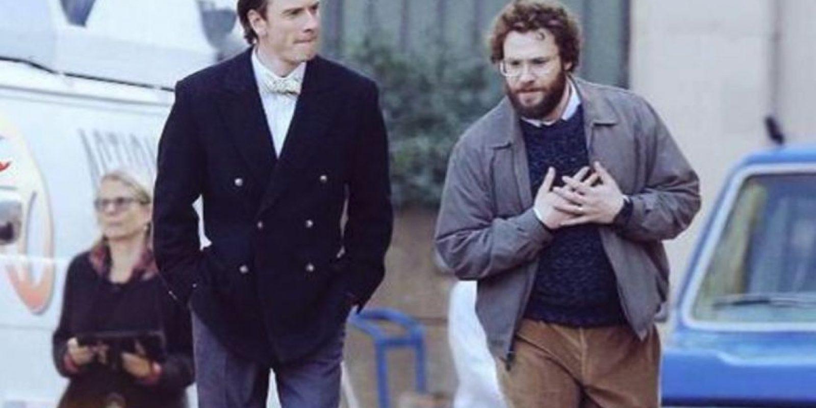 Michael Fassbender y Seth Rogen (actores) Foto:twitter/motro68