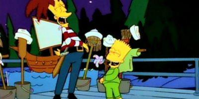 """En el episodio """"Cape Feare"""" de la 5ª Temporada de la serie intenta asesinar a Bart parodiando en si al actor que rodo la película """"El Cabo del Miedo"""" Robert de Niro siendo un expresidiario lleno de tatuajes que va a destrozar una familia Foto:FOX"""