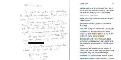 Mostró una carta personal de Jorge Ramos diciendo que mientras Univisión cortaba lazos con él, sus periodistas le pedían entrevistas. Foto:vía Instagram/Donald Trump