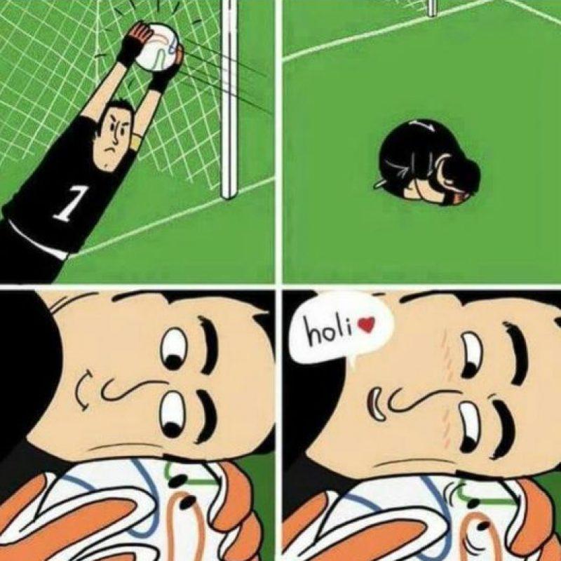 Aunque hay tristeza por la eliminación de Colombia, lo que más alaban los hinchas es la actuación de David Ospina ante Argentina. Foto:vía Facebook/El Querubin HP