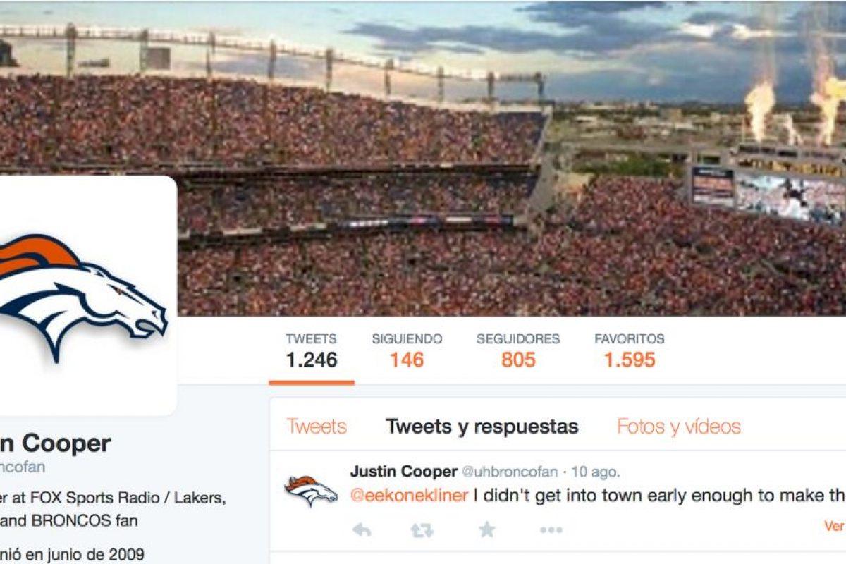 Y en Twitter sigue a su equipo, los Broncos. Foto:vía Twitter