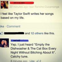 """""""Taylor Swift escribe canciones basadas en mi vida"""". Su padre le responde: """"Como vacía el lavaplatos y la arenera del gato sin quejarte"""". Foto:vía imgur"""