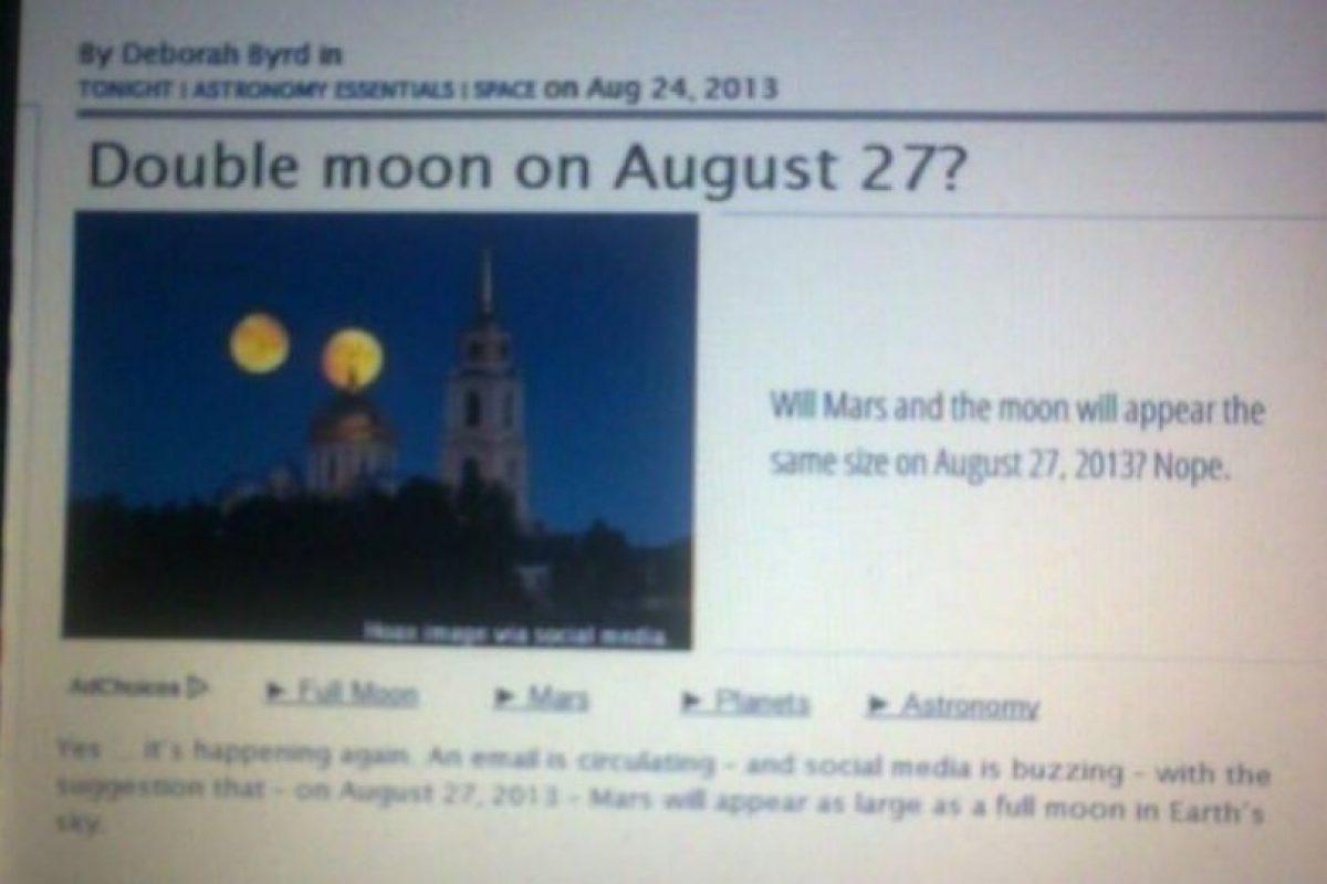 3. Marte del mismo tamaño que la Luna Foto:Vía Twitter