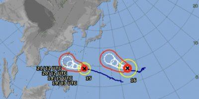 La ultima ocasión en que dos súper tifones se formaron al mismo tiempo en el Pacífico, fue en 1997. Foto:Vía jma.go.jp