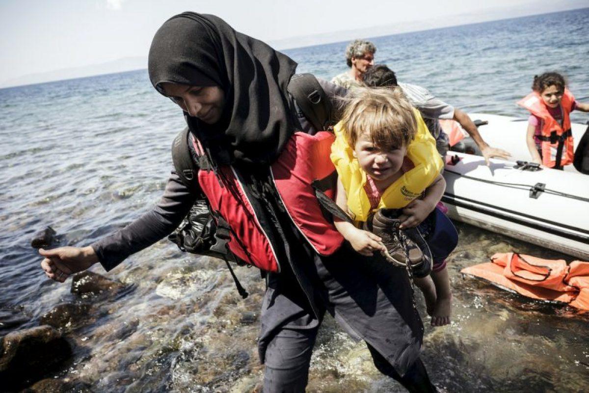 Migrantes sirios en Grecia. Foto:AFP