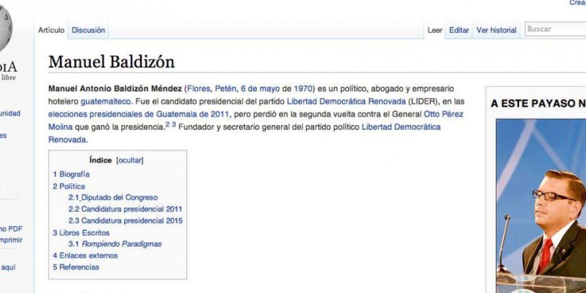 Modifican página de Wikipedia sobre Manuel Baldizón