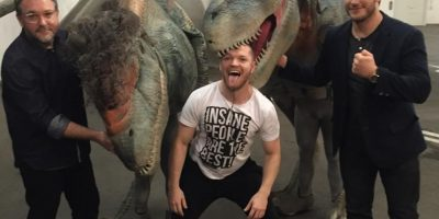 VIDEO: Miren la reacción de Chris Pratt al ver a un dinosaurio de frente