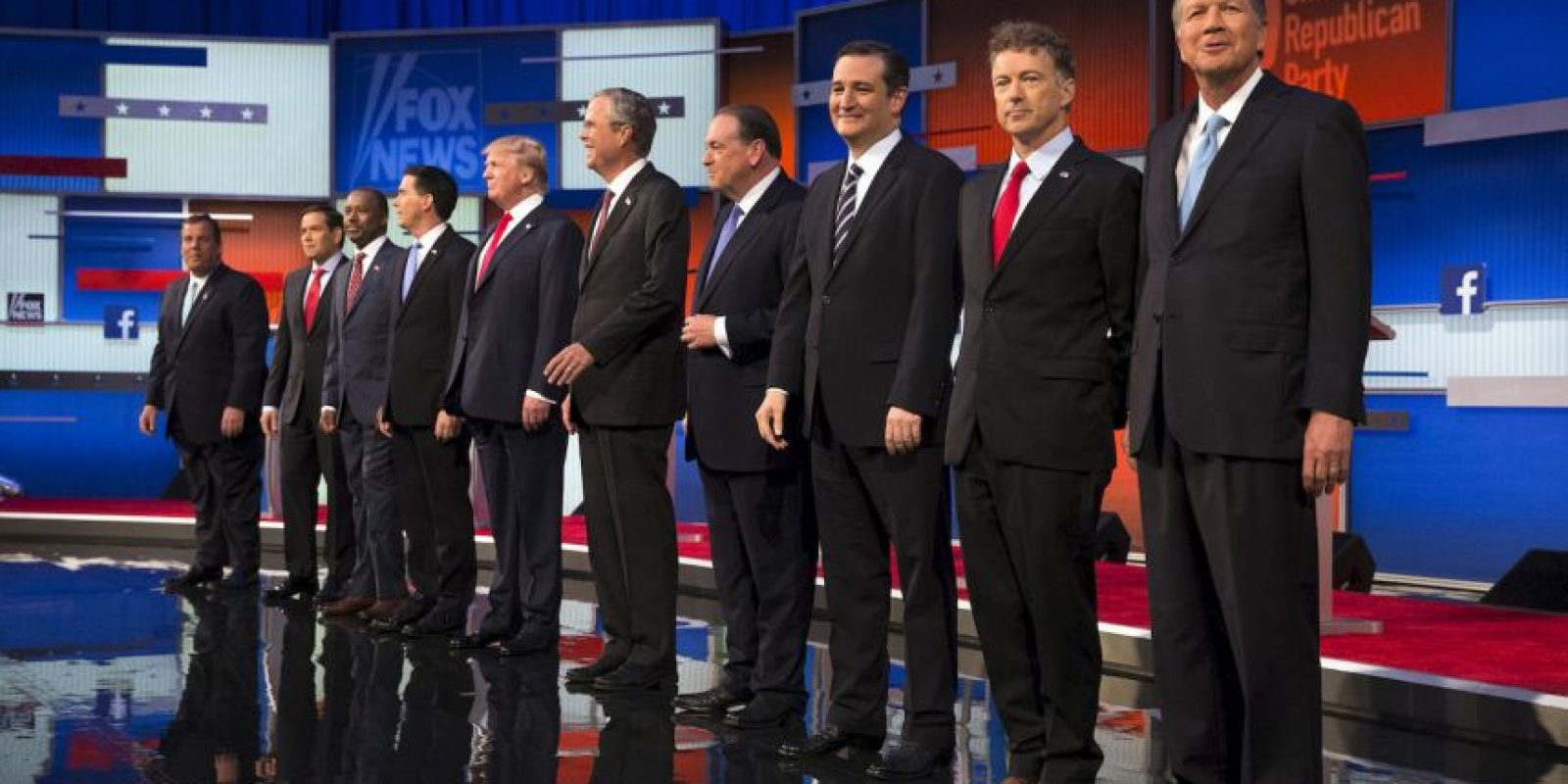 En este debate participaron: Donald Trump, Jeb Bush, Scott Walker, Mike Huckabee, Ben Carson, Ted Cruz, Marco Rubio, Rand Paul, Chris Christie y John Kasich. Foto: Getty Images