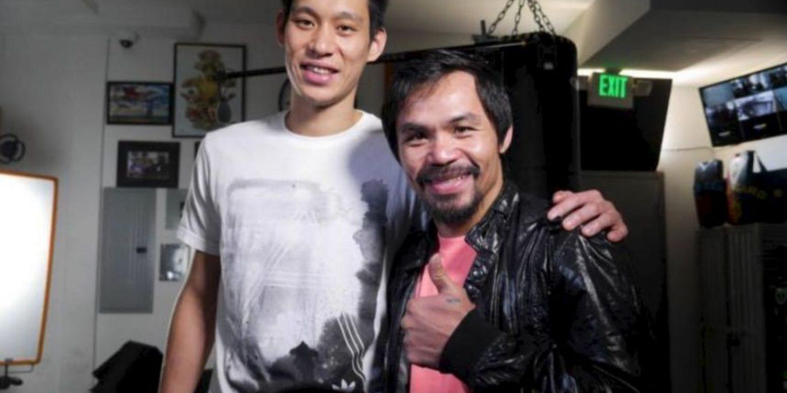Ambos comparten las creencias cristianas, por ello, el basquetbolista va por Pacquiao, y también estuvo presente en Los Ángeles para mostrarle su apoyo. Foto:Getty Images