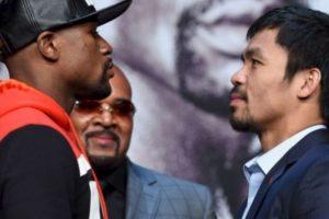 Los testigos del combate entre Mayweather y Pacquiao pagan precios elevados en el MGM Grand Garden Foto:Getty Images