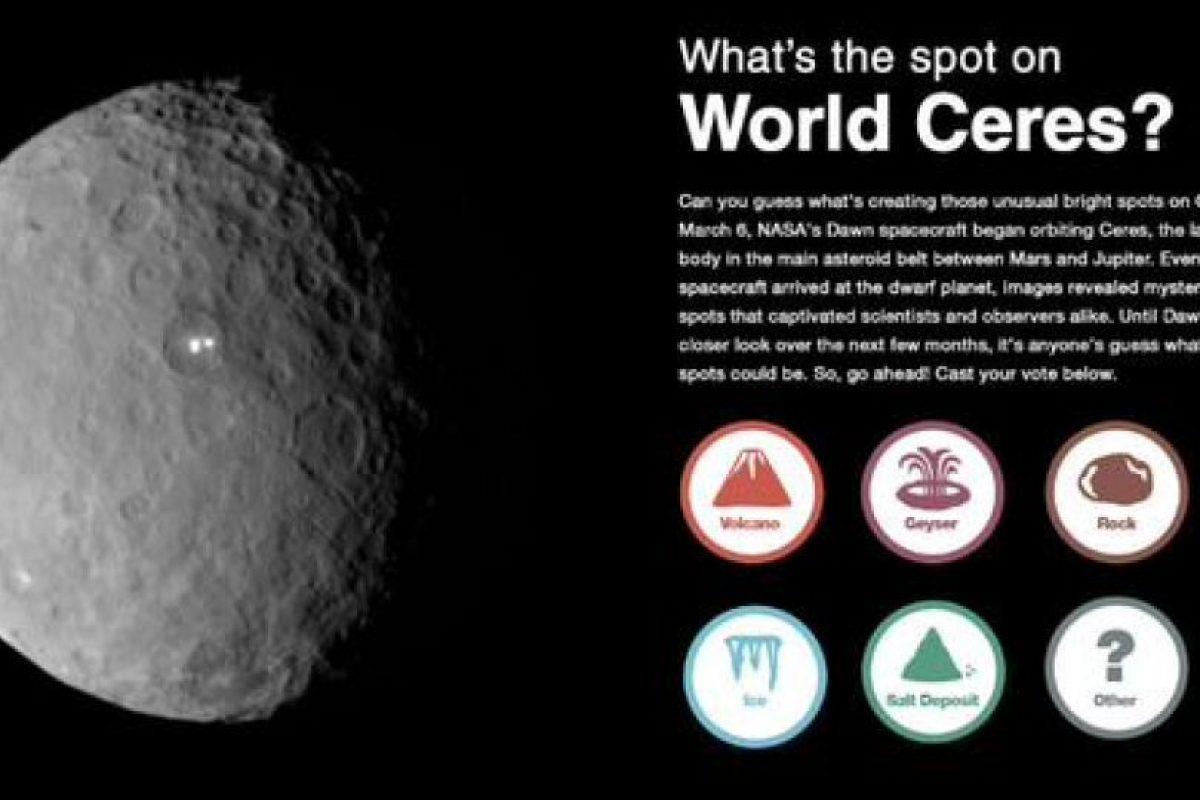 Y la misma NASA tiene una votación sobre lo que podrían ser Foto:Twitter.com/nasa_dawn
