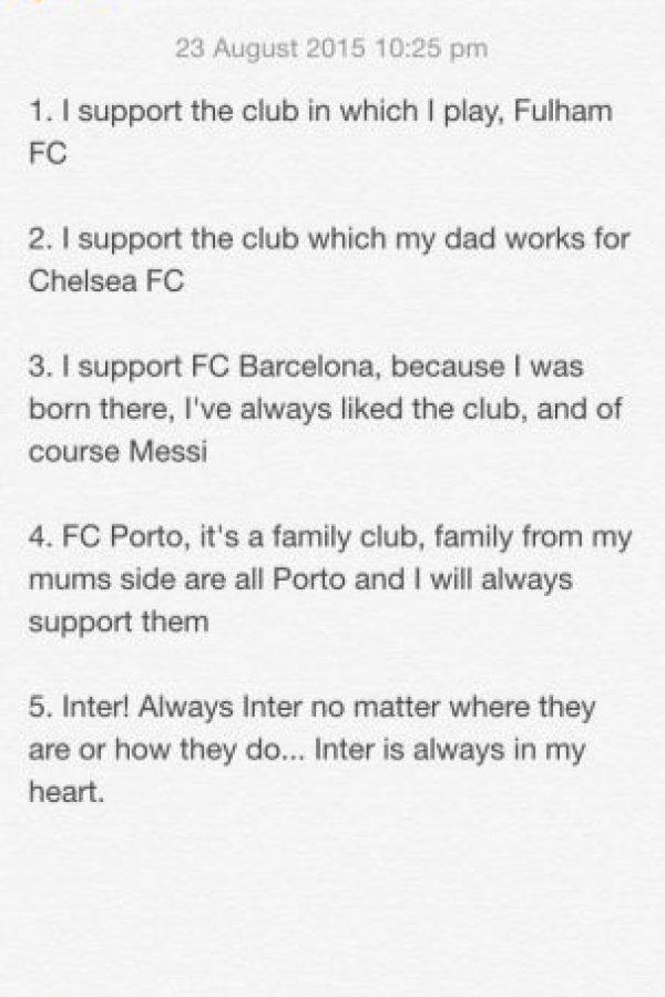 José Mario Mourinho, mejor conocido como José Mourinho Jr es el hijo del DT del Chelsea, José Mourinho. Con esta imagen reveló a qué equipos apoya. Foto:Vía twitter.com/FFC_JM
