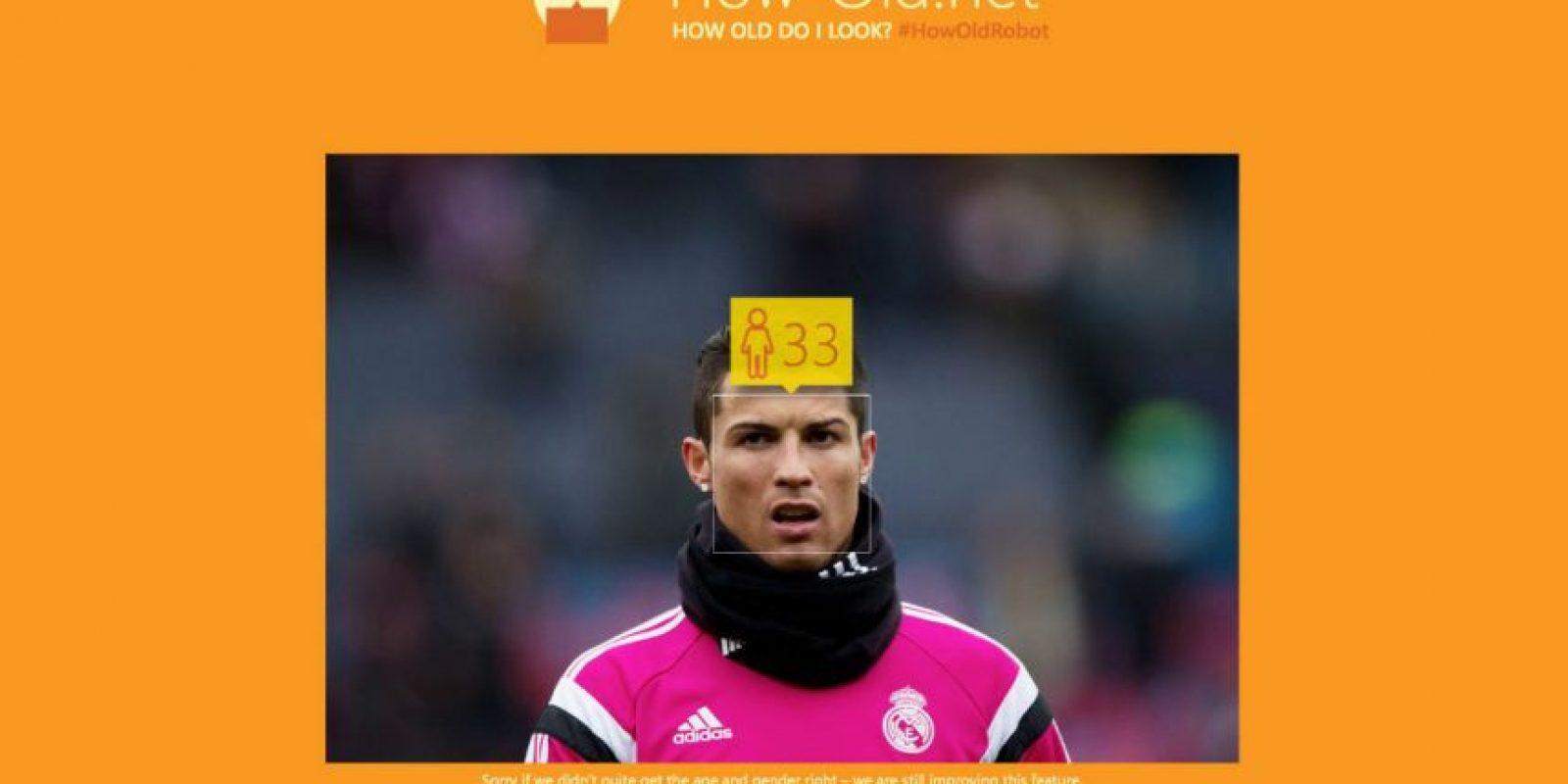 Cristiano Ronaldo, futbolista portugués del Real Madrid, tiene 30 años de edad. Foto:how-old.net