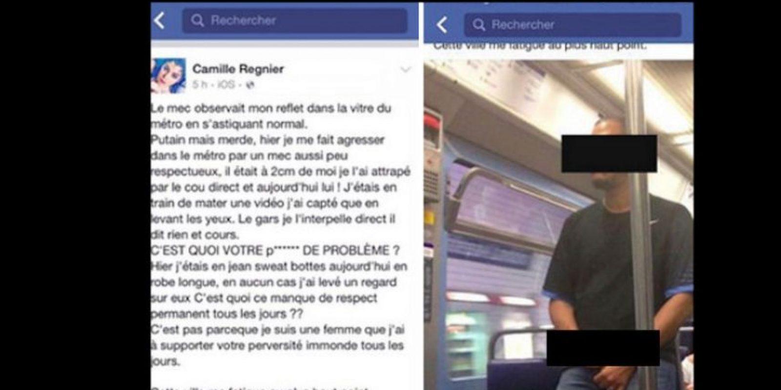 Un hombre se masturbó ahí, muy cerca a ella, mientras estaba en el metro. Ella le tomó una foto y lo denunció. Ahora las autoridades dieron con él, pero se niegan a revelar su identidad. Foto:vía Facebook/Camille Regnier