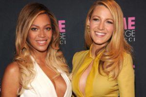 Beyoncé y Blake Lively: trabajaron juntas en Chime for Change y Lively le dio un pastel simbólico de cumpleaños a Beyonce. Foto:vía Getty Images