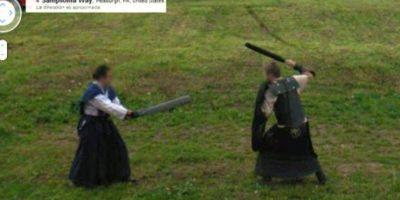 Una lucha medieval Foto:Google Street View