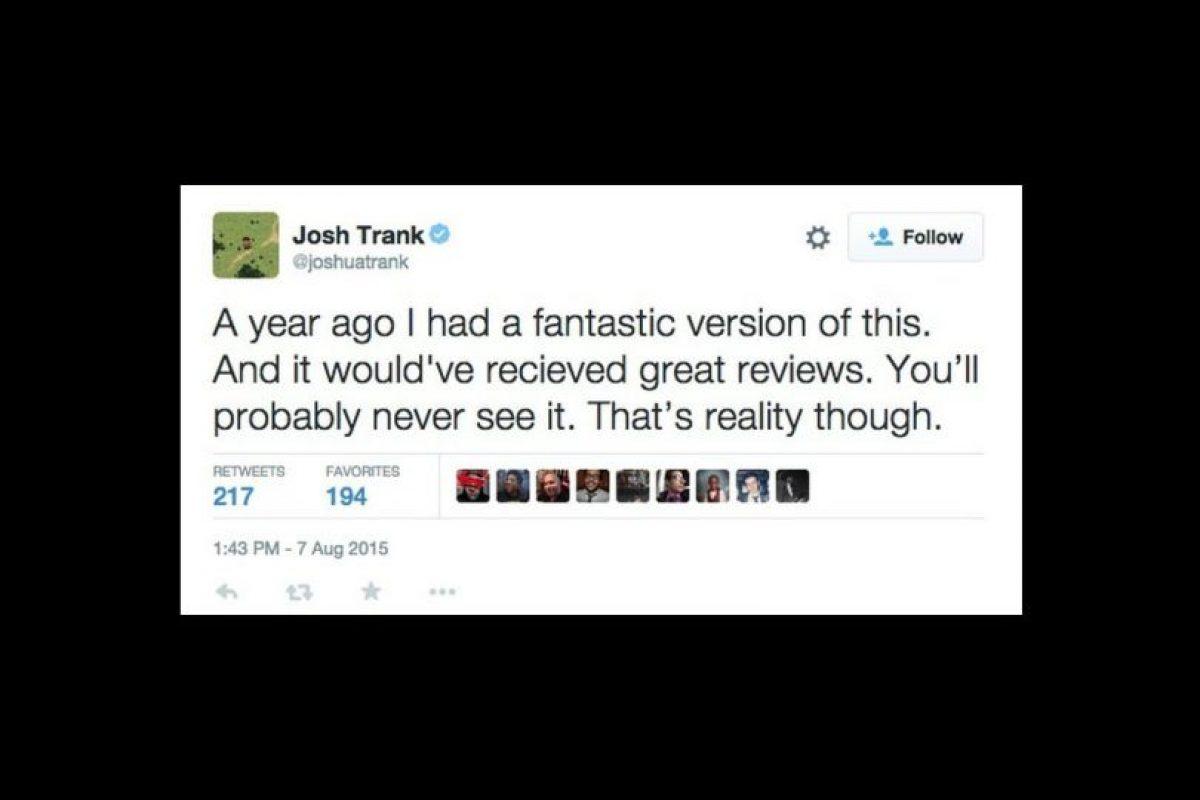 """""""Hace un año, tenía una versión sencillamente fantástica de esto, y hubiera recibido unas críticas fantásticas. Probablemente nunca la veáis, pero así es la vida"""", comentó en un tuit que luego eliminó. Foto:vía twitter"""