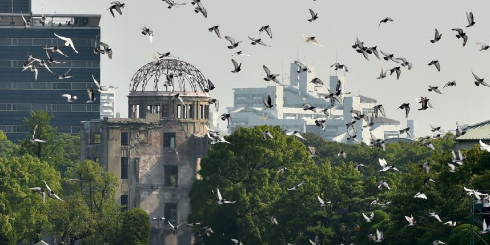 Durante el memorial palomas volaron sobre el parque Monumento de la Paz. Foto:AFP