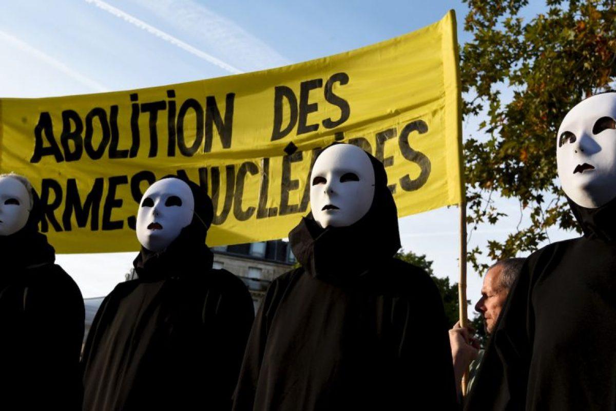 """Activistas antinucleares se manifestaron para conmemorar el 70 aniversario de la bomba apodada """"Little Boy"""". Foto:AFP"""