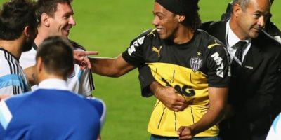 También se divirtió con un imitador de Ronaldinho. Foto:Getty Images