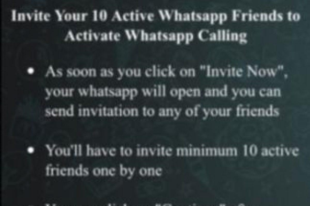 Ofrece a los usuarios obtener la opción de llamadas gratuitas siempre y cuando inviten a 10 de sus amigos a unirse. Foto:Twitter