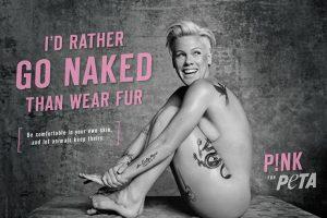 La cantante también protestó contra las marcas de moda que utilizan la piel de animales para sus prendas. Foto:PETA