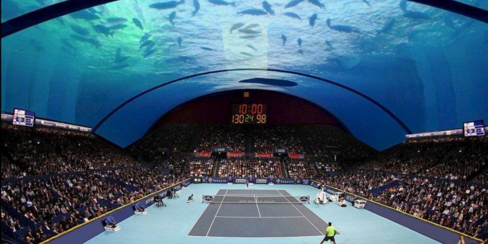 El arquitecto polaco, Krzysztof Kotala, quiere diseñar una cancha de tenis submarina. Foto:Vía facebook.com/8+8ConceptStudio