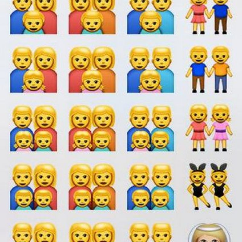Los primeros gay aparecieron para todos los sistemas operativos en el año 2012. Google y Microsoft utilizan siluetas de estas imágenes Foto:Emojipedia